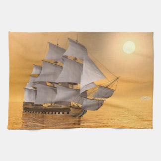 Old merchant ship - 3D Render Kitchen Towel