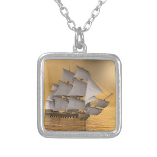 Old merchant ship - 3D Render Silver Plated Necklace