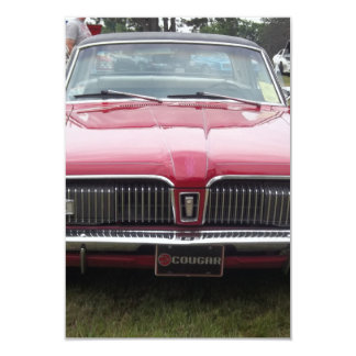 Old Mercury Cougar red Classic antique car Personalized Invitation