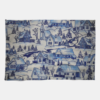 Old Merry Christmas Holiday Winter Village Kitchen Towel