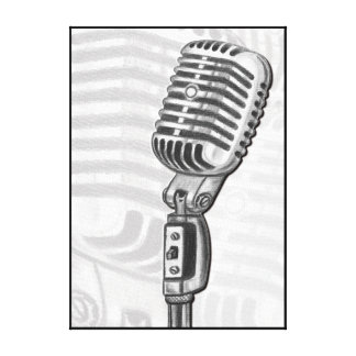 Old Microphone in Charcoal Canvas Art Print