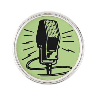Old microphone lapel pin