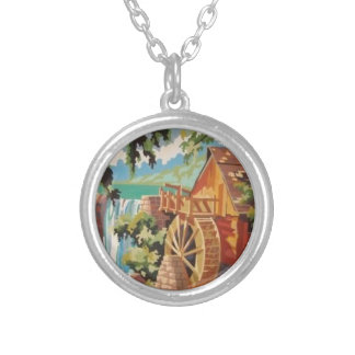 Old Mill Wheel PBN Scene Necklace