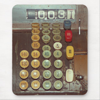 Old Money Counter - Antique Cash Register Mouse Pad