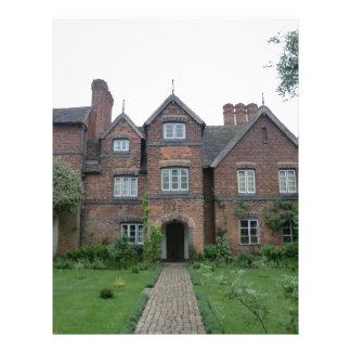 Old Moseley Hall 17th Century English Farmhouse Letterhead Design
