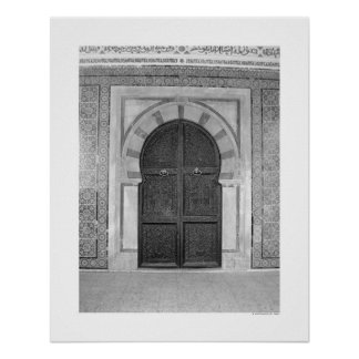 Old Mosque Door (B&W) Poster