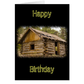 Old Mountain Cabin Birthday Card