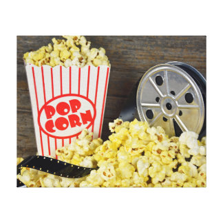 Old Movie Reel and Popcorn Canvas Print