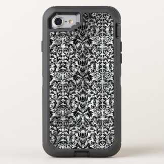 Old Movie Style Black White Damask Aged Pattern OtterBox Defender iPhone 8/7 Case