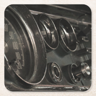 Old Muscle Car Chrysler Dashboard Paper Coaster