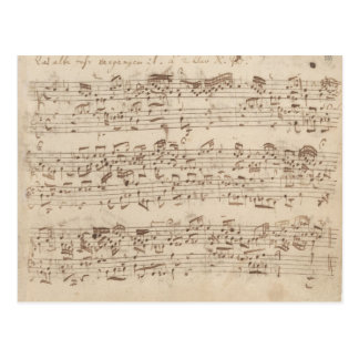 Old Music Notes - Bach Music Sheet Postcard
