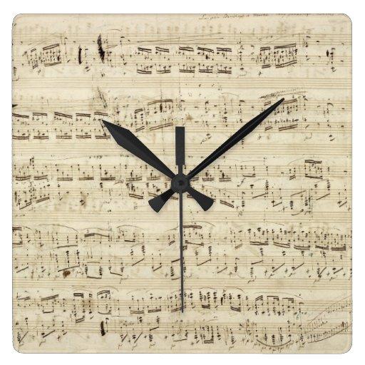 Old Music Notes - Chopin Music Sheet Wall Clocks