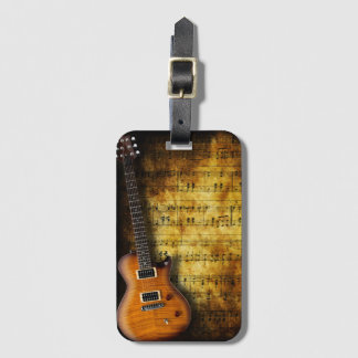 Old Music Sheet Guitar Luggage Tag