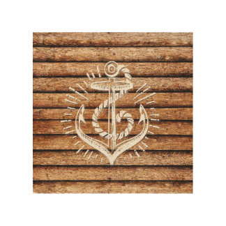 Old Nautical Anchor Wood Wood Canvases