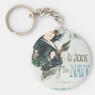 Old Navy Poster circa 1918 Key Chain