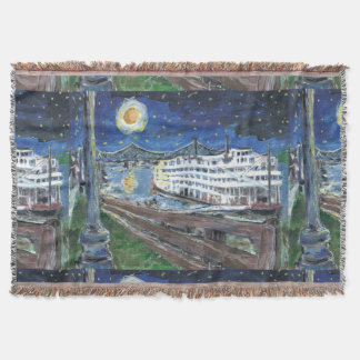 Old New Orleans Steam Boat Throw Blanket