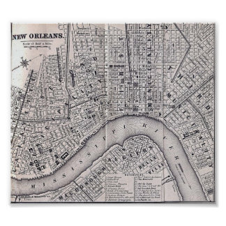 Old New Orleans Tour Map 1869 Poster