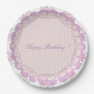 Old & New-Pink-Paradox- Happy Birthday 9 Inch Paper Plate