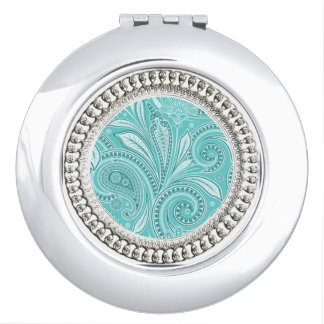 """Old & New "" Round* Silver_Aqua Paisley Travel Mirror"