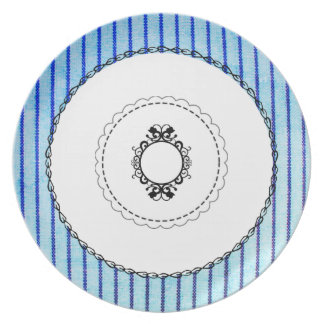 """Old & New"" Sky Blue Ticking_ Plate"