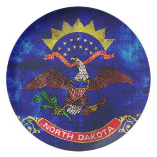 Old North Dakota Flag; Party Plate