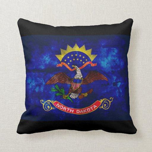 Old North Dakota Flag; Throw Pillow