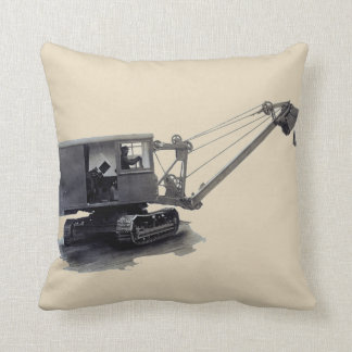 Old Northwest Crane Shovel Construction Equipment Throw Pillow