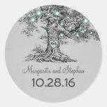 Old oak tree teal lights wedding stickers