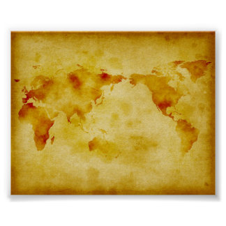 Old paper faded paint world map poster