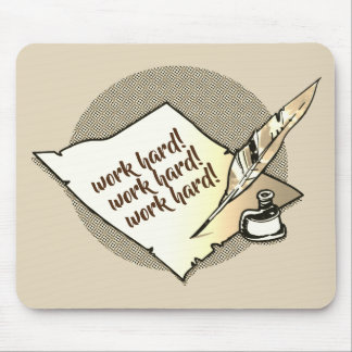 old paper ink and quill pen hand writing cartoon mouse pad