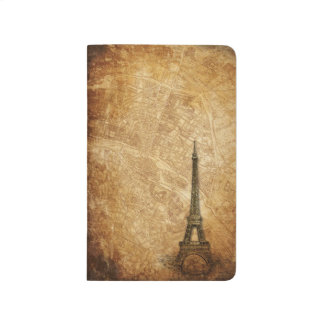 Old Paris Map and Eiffel Tower Pocket Journal