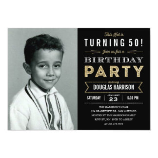 Black adult birthday invitations announcements zazzle canada old photo adult birthday party invitations black filmwisefo Image collections