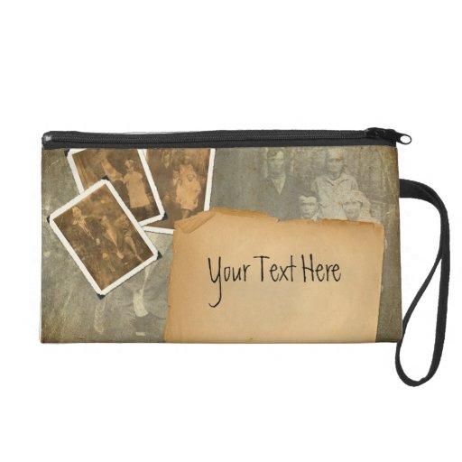Old Photo Album Bagettes Bag Wristlet Clutch