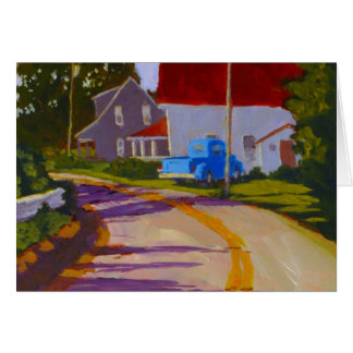 Old Pickup truck & road in Maine greeting card