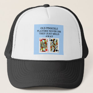 old pinochle player trucker hat