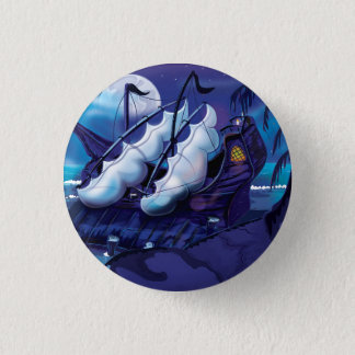 Old Pirate Sailship Docked 1 Inch Round Button