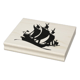 Old Pirate Ship Silhouette Rubber Art Stamp