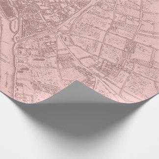 Old Plan Paris Mauve Lilac Blush Pink Royal Mapa Wrapping Paper