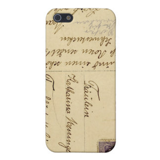 Old Post Card Iphone Case Writing Brown Beige Cover For iPhone 5/5S