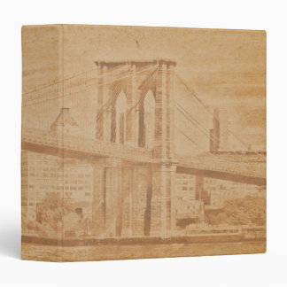 "Old Postcard Brooklyn Bridge 1.5"" Photo Album Vinyl Binders"