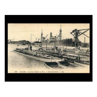 Old Postcard - Calais, Submarines