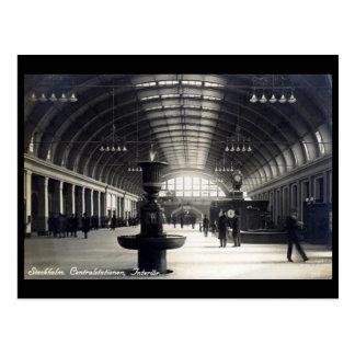 Old Postcard - Central Station, Stockholm, Sweden