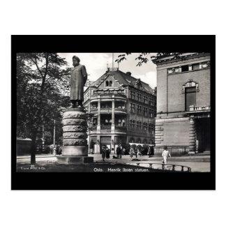 Old Postcard - Oslo, Ibsen's Statue