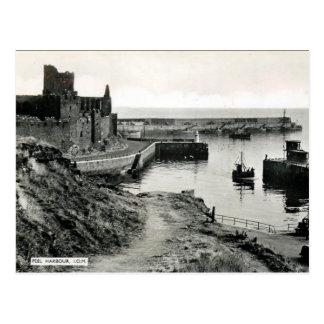 Old Postcard - Peel Harbour, Isle of Man