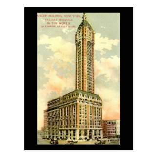Old Postcard - Singer Building, New York City