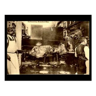 Old Postcard, Stratford-upon-Avon Mop, Ox Roast Postcard