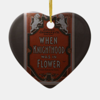 Old poster of theater ceramic heart ornament
