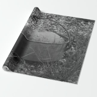 old pot in black and white wrapping paper