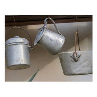 old pots and pans postcard