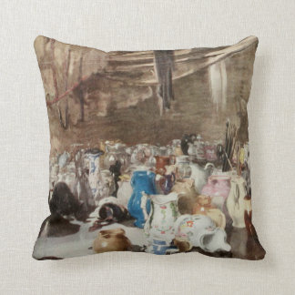 Old Pottery Shop Vintage Artwork Throw Pillow